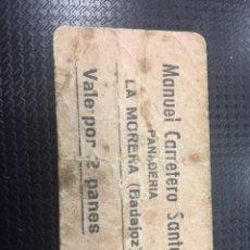 Billetes locales: VALE POR 2 PANES-MANUEL CARRETERO SANTOS. Lote 119189151