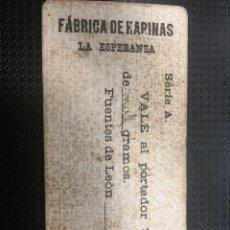 Billetes locales: VALE PORVUN PAN DE MIL GRAMOS (FUENTE DE LEON) FÁBRICA DE HARINA LA ESPERANZA.. Lote 119189382