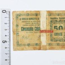 Billetes locales: BILLETE GUERRA CIVIL 50 CENTIMOS CONSEJO UNICIPAL DE LA UNION, 0,50 PTA PESETA, ORIGINAL. Lote 119959947