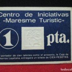 Billetes locales: 1 PESETA CENTRO DE INICIATIVAS MARESME TURISTIC AÑOS 70. Lote 120019927