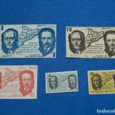 Billetes locales: MALGRAT DE MAR (GUERRA CIVIL) 1937 BILLETES (5) 0,05 PTS-0,10PTS.-0,25PTS.-0,50PTS-1 PTS . Lote 120241091