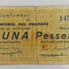 Billetes locales: F 1634 BILLETE DE 1 PESETA AJUNTAMENT DE LA BISBAL DEL PENEDES T-532 - R. Lote 120853907