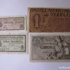 Billetes locales: 4 BILLETES: 25 Y 50 CÉNT. DE GIRONA Y 10 Y 50 CÉNT. DE TERRASSA.. Lote 121693027