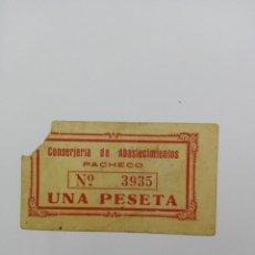 Billetes locales: BILLETE LOCAL DE UNA PESETA CONSERJERIA DE ABASTECIMIENTOS DE PACHECO ( MURCIA ). Lote 121977735