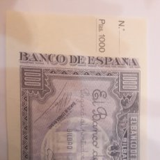 Billetes locales: MATRIZ 1000 PTAS BANCO CENTRAL 1937 SC.PLANCHA. Lote 122245027