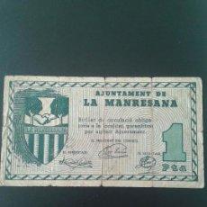 Billetes locales: MANRESANA 1 PESETA. Lote 122252171