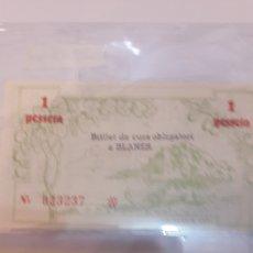 Billetes locales: BLANES BILLETE GUERRA VIVIL 1937 PLSNCHA 50 CTMOS Y UNA PESETA. Lote 122335888