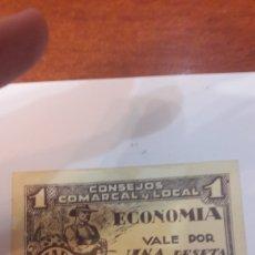 Billetes locales: BILLETE 1937 BARBASTRO UNA PTA. Lote 122337978