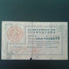 Billetes locales: LLAGOSTERA 1 PESETA. Lote 122859999