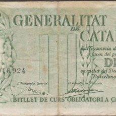Billetes locales: BILLETES LOCALES - GENERALITAT DE CATALUNYA - 10 PESSETES 1936 - PG-424 (BC+). Lote 123082599