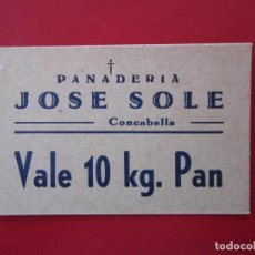 Billetes locales: BILLETE LOCAL CONCABELLA VALE 10KG. DE PAN 1937 GUERRA CIVIL. Lote 125126079