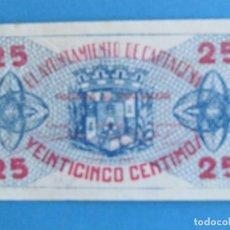 Billetes locales: BILLETE LOCAL AYUNTAMIENTO CARTAGENA. 25 CENTIMOS. AÑO 1937. Lote 125604031