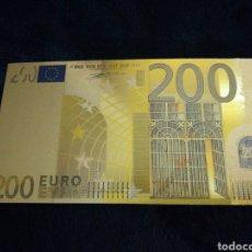 Billetes locales: BILLETE 200 EUROS EN LÁMINA DORADA. Lote 143009200