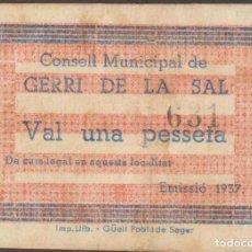 Billetes locales: BILLETES LOCALES - GERRI DE LA SAL-LLEIDA - 1 PTA. - 1937. -. S/F - T-1290 (MBC). Lote 126602227