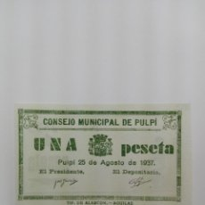 Billetes locales: BILLETE LOCAL DE UNA PESETA DEL CONSEJO MUNICIPAL DE PULPI ( ALMERIA ).. Lote 126634035