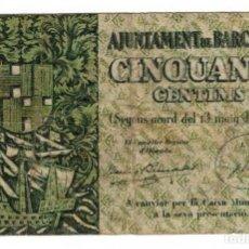Billetes locales: BARCELONA - 50 CÉNTIMOS - 1937. Lote 126704115