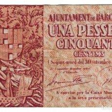 Billetes locales: BARCELONA - UNA PESETA CINCUENTA - 1´50 PESETAS - 1937 - EBC. Lote 126704707