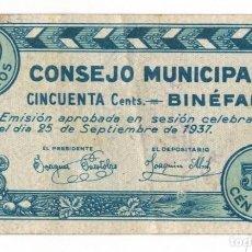 Billetes locales: BINÉFAR - 50 CÉNTIMOS - 1937. Lote 126705131