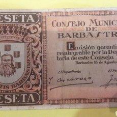 Billetes locales: 1937 BARBASTRO UNA PESETA. Lote 126746288