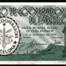 Billetes locales: UNIO DE COOPERADORS DE BARCELONA 10 CENTIMOS 1936 - S/C-. Lote 127211335