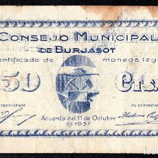 Billetes locales: BURJASOT (VALENCIA) - 50 CENTIMOS. 1937 - MBC+. Lote 127446695
