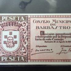Billetes locales: BILLETE BARBASTRO SIN CIRCULAR. Lote 127542528