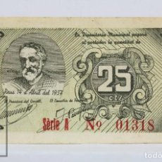 Billetes locales: BILLETE LOCAL CONSELL MUNICIPAL REUS - 25 CÉNTIMOS, 14 ABRIL 1937 - SERIE A - GUERRA CIVIL - BC. Lote 127609823