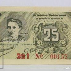 Billetes locales: BILLETE LOCAL CONSELL MUNICIPAL REUS - 25 CÉNTIMOS, 14 ABRIL 1937 - SERIE B - GUERRA CIVIL - EBC-. Lote 127609895