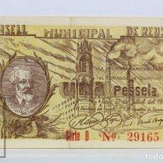 Billetes locales: BILLETE LOCAL CONSELL MUNICIPAL REUS - 1 PESETA, 21 JULIO 1937 - SERIE D - GUERRA CIVIL - BC+. Lote 127610163