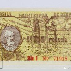 Billetes locales: BILLETE LOCAL CONSELL MUNICIPAL REUS - 1 PESETA, 21 JULIO 1937 - SERIE D - GUERRA CIVIL - EBC. Lote 127611031