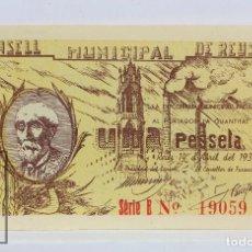 Billetes locales: BILLETE LOCAL CONSELL MUNICIPAL REUS - 1 PESETA, 14 ABRIL 1937 - SERIE B - GUERRA CIVIL - EBC+. Lote 127612227