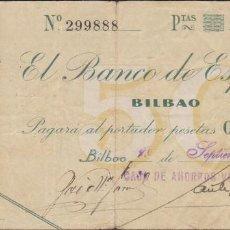 Billetes locales: BILLETES LOCALES - BILBAO - 50 PESETAS 1936 - PG-393 ( MBC-). Lote 127738067