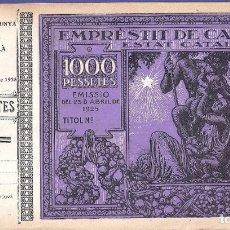 Billetes locales: EMPRESTIT DE CATALUNYA. ESTAT CATALÀ. 1000 PESETAS 1925 CON MATRIZ.. Lote 127940640
