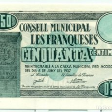 Billetes locales: 50 CÉNTIMOS DE LES FRANQUESES SC. Lote 128646771