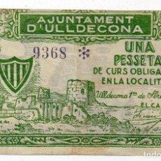 Billetes locales: AYUNTAMIENTO DE ULLDECONA. 1 PESETA. SERIE A. 1937. Lote 128652267