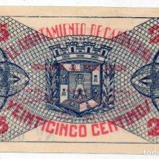 Billets locaux: AYUNTAMIENTO DE CARTAGENA. 25 CÉNTIMOS. SIN USO. VER FOTOGRAFÍAS. Lote 128652991