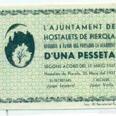 Billetes locales: 1 PTA. DE HOSTALETS DE PIEROLA R T- 1432B SC. Lote 128710771