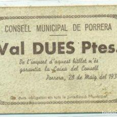 Billetes locales: 2 PTAS. DE PORRERA RRR A.T.-1962 EBC. Lote 128711659