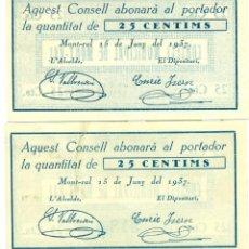 Billetes locales: 25 CTMOS PAREJA CORRELATIVA DEL C.M. MONT-RAL A.T. 1595C EBC Y SC. Lote 128799847