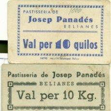 Billetes locales: CUATRO VALES DE PAN DE JOSEP PANADÉS DE BELIANES LLEIDA DE BC A SC. Lote 128933891