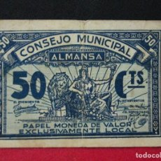 Billetes locales: 50 CENTIMOS CONSEJO MUNICIPAL DE ALMANSA. Lote 129320375