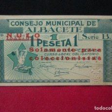 Billetes locales: 1 PESETA CONSEJO MUNICIPAL DE ALBACETE. Lote 129366983