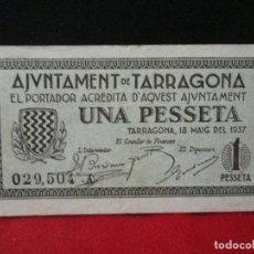 Billetes locales: 1 PESETA AJUNTAMENT DE TARRAGONA 1937. Lote 129454615