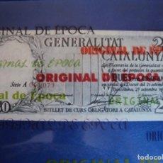 Billetes locales: (BI-3)GENERALITAT DE CATALUNYA,DUES PTES CINQUANTA CTS - 25-9-1936 - 2,50 PESETAS,SERIE A,NUM.ROJO. Lote 129973347