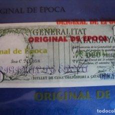 Billetes locales: (BI-4)GENERALITAT DE CATALUNYA , DEU PESSETES 25-9-1936, 10 PESETAS , SERIE C - VERDE. Lote 129973567