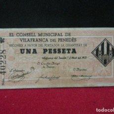 Billetes locales: 1 PESETA EL CONSELL MUNICIPAL DE VILAFRANCA DEL PENEDES 1937. Lote 130121359