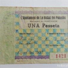 Billetes locales: F 1286 BILLETE DE LA BISBAL DEL PENEDES 1 PESETA AGOSTO T-535 E. Lote 130449394