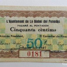 Billetes locales: F 1285 BILLETE DE LA BISBAL DEL PENEDES 50 CENTIMOS AGOSTO T-536 E. Lote 130449930