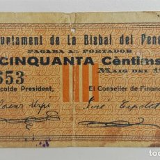 Billetes locales: F 1716 BILLETE DE LA BISBAL DEL PENEDES 50 CENTIMOS MAYO T533 R. Lote 130451490