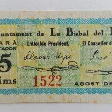 Billetes locales: F 1284 BILLETE DE LA BISBAL DEL PENEDES 25 CENTIMOS MAYO T537 R. Lote 130636582